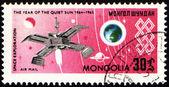 Weltraumforschung auf briefmarke der post — Stockfoto