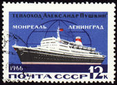 "Passenger ship ""Alexander Pushkin"" on the line to Leningrad, Mont — Stock Photo"
