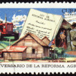 Scene from country life on post stamp - Stock Photo