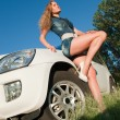 Foto Stock: Sky, car and pretty
