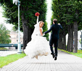 Wedding jump — Stock Photo