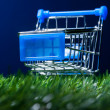 Shopping cart in grass — Stock Photo