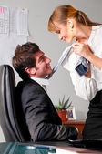 Flirting at office — 图库照片