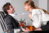 Flirting at office — Foto de Stock