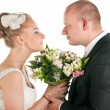 Wedding couple are holding bridal bouquet — Stock Photo #5744349