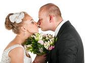 Wedding couple kissing — Stock Photo