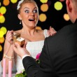 Bride and groom at cafe - Stock Photo