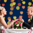 Bride and groom at cafe — Stock Photo #5754789