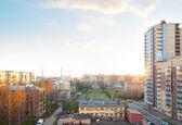 Urban buildings at sunset — Stock Photo