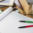 Stock Photo: Opened notebook, old books, pens