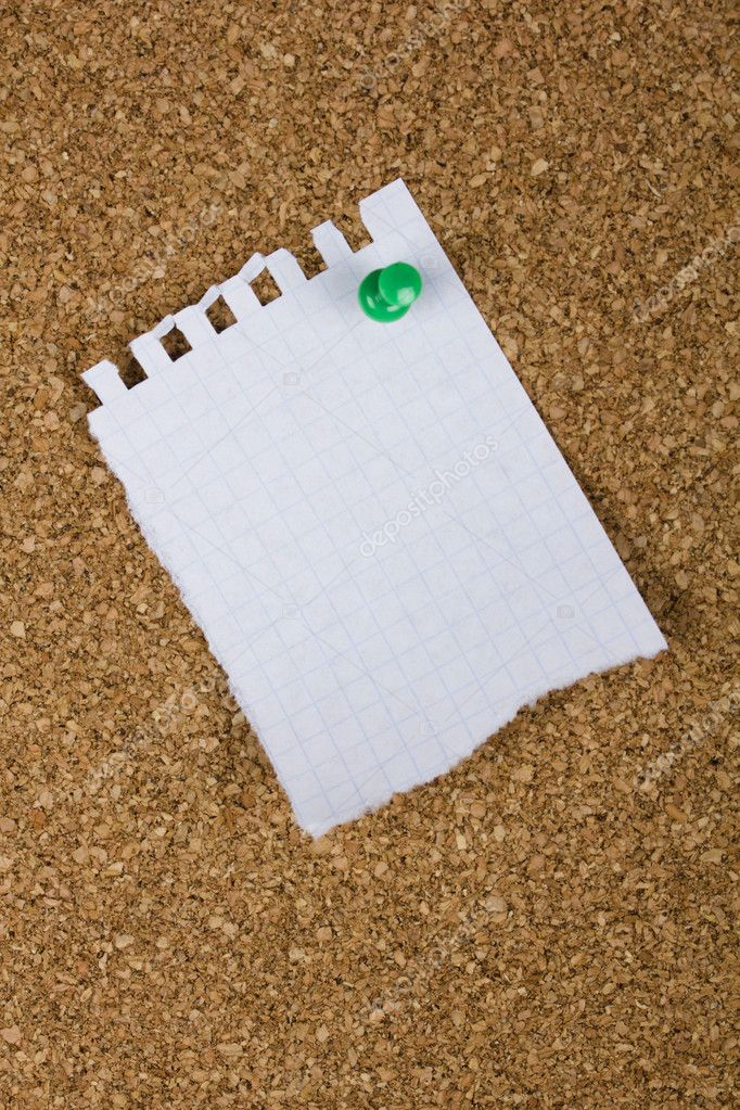 Corkboard with a sheet from a notebook for text — Stock Photo #6561272