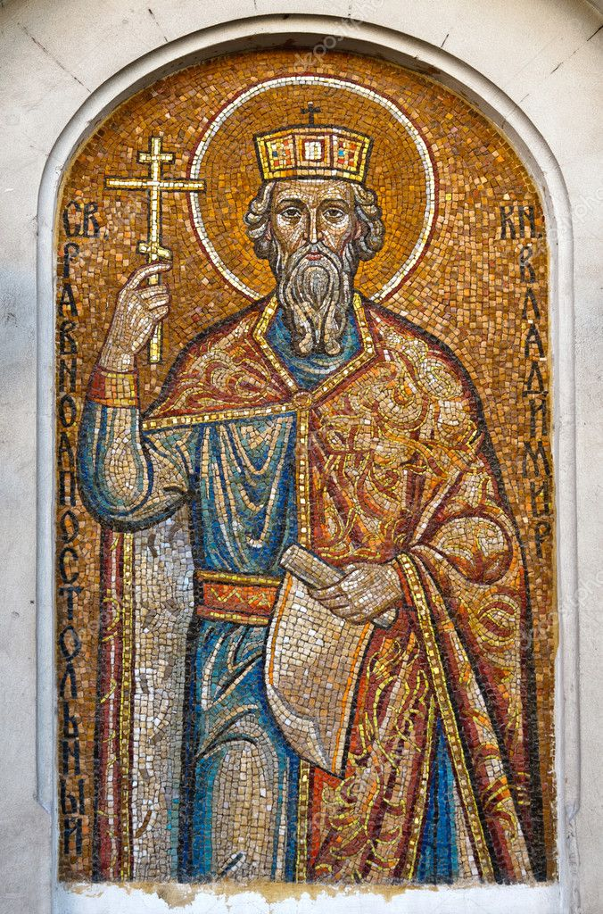 Mosaic of St. Prince Vladimir.  Orthodox church in Sevastopol Ukraine — Stock Photo #6525483