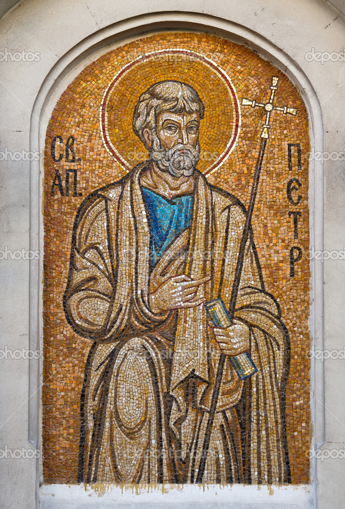 Mosaic of Saint Peter the Apostle. Orthodox church in Sevastopol Ukraine — Stock Photo #6525487