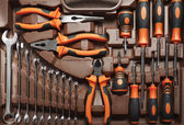 Professional mechanic tools in toolbox — Stock Photo