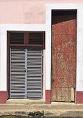 Wooden broun painted and metal doors — Stock Photo