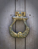 Coseup old-fashioned brass door handle — Stock Photo