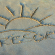 Resort - Inscription on sand - Stock Photo