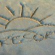 Resort - Inscription on sand — Stock Photo