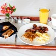Breakfast on the tray — Stock Photo