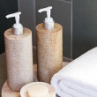 Dispensers, soap and towel — Stock Photo