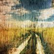 Road in the fields, grungy illustration — Stock Photo