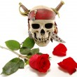 Skull and red rose with petals — Stock Photo #5424665