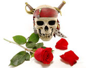 Skull and red rose with petals — Stock Photo