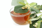 Curative tea from the flowers of linden — Stock Photo
