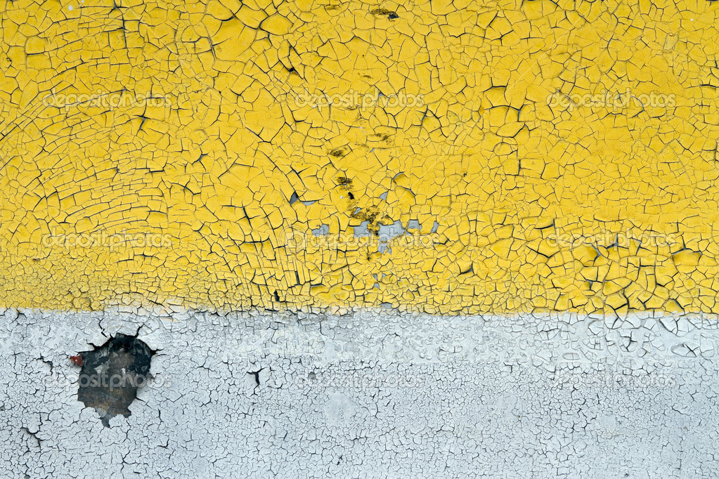 Metal wall painted yellow and white  Stock Photo #6743508