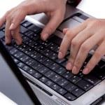 Women typing on keyboard — Stock Photo
