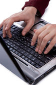Women typing on keyboard — Stok fotoğraf