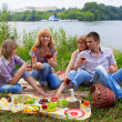 Foto Stock: Young at picnic