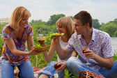Unga på picknick — Stockfoto