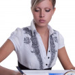 Businesswoman sitting with documents and fills — Foto Stock