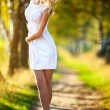 Young woman walking — Stock Photo