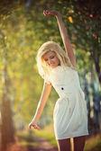 Young woman walking — Stock Photo