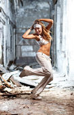 Young dancing woman — Foto Stock
