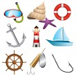 iconos de mar — Vector de stock  #6049052