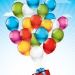 Red gift box and colorful balloons — Stock Vector
