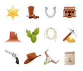 Wild west icons — Stok Vektör