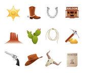 Wild west icons — Stock Vector