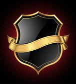 Black and gold shield and ribbon — Stock Vector