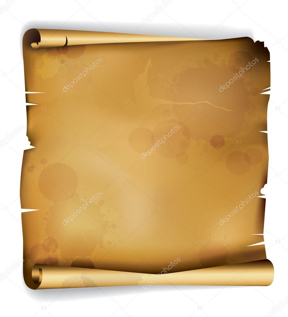 Old roll of ragged parchment with stains from centuries — Stock Vector #6049079