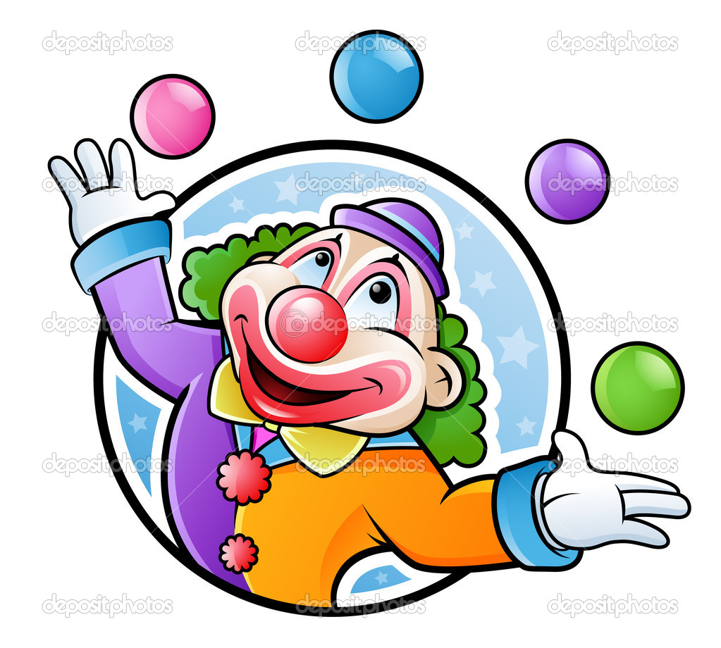 Happy clown juggling with balls in many colors — Stock Vector #6049096