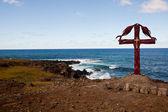 Christian Cross On Easter island coastline — Stock Photo