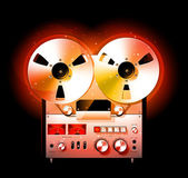Glowing Reel To Reel Stereo Tape Deck Recorder — Stockvector