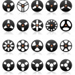 Stock Vector: Analog Stereo Tape Reels Icon set, vector