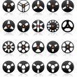 Analog Stereo Tape Reels Icon set, vector — Stock Vector