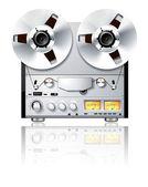 винтаж hi-fi аналоговый стерео катушечных кассеты палубе игрока / reco — Стоковое фото