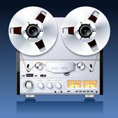 винтаж hi-fi аналоговый стерео катушечных кассеты палубе игрока / reco — Cтоковый вектор